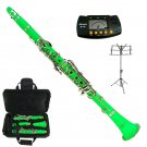 MERANO GREEN CLARINET WITH CASE,11 REEDS, METRO TUNER, MUSIC STAND