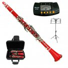 MERANO RED CLARINET WITH CASE,11 REEDS, METRO TUNER, MUSIC STAND