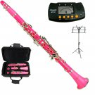 MERANO PINK CLARINET WITH CASE,11 REEDS, METRO TUNER, MUSIC STAND