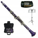 MERANO PURPLE CLARINET WITH CASE,11 REEDS, METRO TUNER, MUSIC STAND