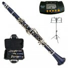 MERANO BLUE CLARINET WITH CASE,11 REEDS, METRO TUNER, MUSIC STAND
