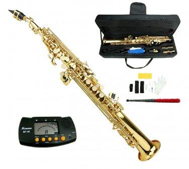 MERANO B Flat Gold Soprano Saxophone with Case,Metro Tuner