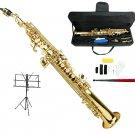 MERANO B Flat Gold Soprano Saxophone with Case,Music Stand