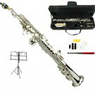 MERANO B Flat Silver Soprano Saxophone with Case,Music Stand