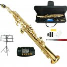 MERANO B Flat Gold Soprano Saxophone with Case,Music Stand,Metro Tuner