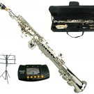 MERANO B Flat Silver Soprano Saxophone with Case,Music Stand,Metro Tuner