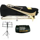 MERANO B Flat Gold Slide Trombone with Case,Metro Tuner,Music Stand