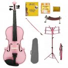 Merano 1/2 Size Pink Violin with Matching Color Bow, Music Stand