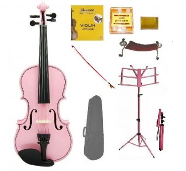 Merano 4/4 Size Pink Violin with Matching Color Bow, Music Stand