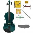 Merano 4/4 Size Green Violin with Matching Color Bow, Music Stand