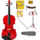 Merano 4/4 Size Red Violin with Matching Color Bow, Music Stand