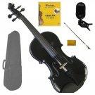 1/10 Size Black Violin,Black Bow,Case+Rosin+2Sets of Strings+Clip On Tuner