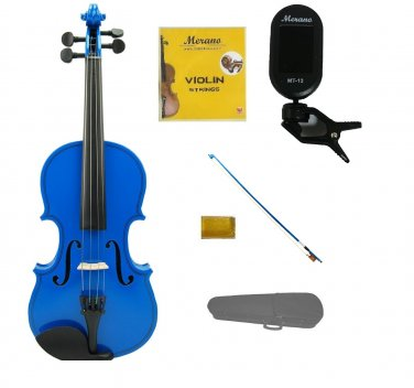 3/4 Size Blue Violin,Blue Bow,Case+Rosin+2Sets of Strings+Clip On Tuner