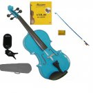 1/10 Size Blue Violin,Blue Bow,Case+Rosin+2Sets of Strings+Clip On Tuner