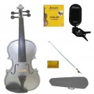 3/4 Size Silver Violin,Silver Bow,Case+Rosin+2Sets of Strings+Clip On Tuner