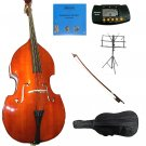 Merano 1/8 Size Natural Upright Double Bass w/Bag,Bow,Bridge+2 Sets Strings+Rosin+Music Stand+Tuner