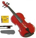 1/10 Size Red Acoustic Violin,Case,Bow+Rosin+2 Sets of Strings