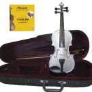 3/4 Size Silver Acoustic Violin,Case,Bow+Rosin+2 Sets of Strings