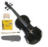 Merano 1/2 Size Black Acoustic Violin,Case,Bow+Rosin+2 Sets of Strings+2 Bridges
