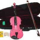 Merano 1/4 Size Pink Acoustic Violin,Case,Bow+Rosin+2 Sets of Strings+2 Bridges