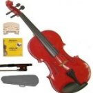 Merano 1/4 Size Red Acoustic Violin,Case,Bow+Rosin+2 Sets of Strings+2 Bridges