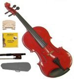 Merano 1/8 Size Red Acoustic Violin,Case,Bow+Rosin+2 Sets of Strings+2 Bridges