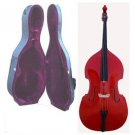 Crystalcello MB450RD 1/2 Size Red Upright Double Bass with Hard Case