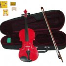 Merano 4/4 Size Red Acoustic Violin,Case,Bow+Rosin+2 Sets of Strings+2 Bridges+Pitch Pipe