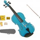 Merano 3/4 Size Blue Acoustic Violin,Case,Bow+Rosin+2 Sets of Strings+2 Bridges+Pitch Pipe