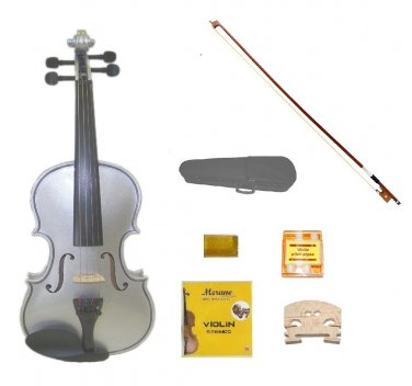 Merano 4/4 Size Silver Acoustic Violin,Case,Bow+Rosin+2 Sets of Strings+2 Bridges+Pitch Pipe