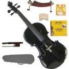 Merano 3/4 Size Black Violin,Case,Bow+Rosin+2 Sets Strings+2 Bridges+Tuner+Shoulder Rest
