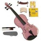 Merano 1/8 Size Pink Violin,Case,Bow+Rosin+2 Sets Strings+2 Bridges+Tuner+Shoulder Rest
