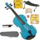 Merano 3/4 Size Blue Violin,Case,Bow+Rosin+2 Sets Strings+2 Bridges+Tuner+Shoulder Rest