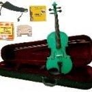 Merano 1/4 Size Green Violin,Case,Bow+Rosin+2 Sets Strings+2 Bridges+Tuner+Shoulder Rest