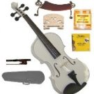 Merano 3/4 Size White Violin,Case,Bow+Rosin+2 Sets Strings+2 Bridges+Tuner+Shoulder Rest