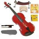 Merano 1/4 Size Red Violin,Case,Bow+Rosin+2 Sets Strings+2 Bridges+Tuner+Shoulder Rest