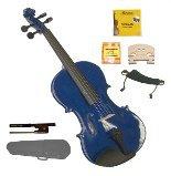 Merano 1/2 Size Blue Violin,Case,Bow+Rosin+2 Sets Strings+2 Bridges+Tuner+Shoulder Rest