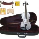 Merano 4/4 Size Silver Violin,Case,Bow+Rosin+2 Sets Strings+2 Bridges+Tuner+Shoulder Rest