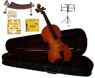 Merano 3/4 Size Violin,Case,Bow+Rosin+2 Sets Strings+2 Bridges+Tuner+Shoulder Rest+Music Stand
