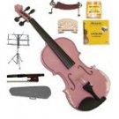 Merano 3/4 Size Pink Violin,Case,Bow+Rosin+2 Sets Strings+2 Bridges+Tuner+Shoulder Rest+Music Stand