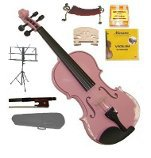 Merano 1/2 Size Pink Violin,Case,Bow+Rosin+2 Sets Strings+2 Bridges+Tuner+Shoulder Rest+Music Stand