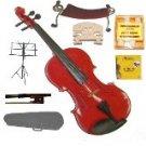 Merano 3/4 Size Red Violin,Case,Bow+Rosin+2Sets Strings+2 Bridges+Tuner+Shoulder Rest+Music Stand