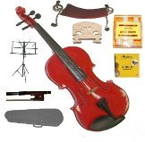 Merano 1/4 Size Red Violin,Case,Bow+Rosin+2Sets Strings+2 Bridges+Tuner+Shoulder Rest+Music Stand