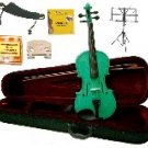 Merano 1/2 Size Green Violin,Case,Bow+Rosin+2Sets Strings+2 Bridges+Tuner+Shoulder Rest+Music Stand