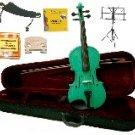 Merano 1/4 Size Green Violin,Case,Bow+Rosin+2Sets Strings+2 Bridges+Tuner+Shoulder Rest+Music Stand
