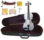 Merano 3/4 Size Silver Violin,Case,Bow+Rosin+2Sets Strings+2 Bridges+Tuner+Shoulder Rest+Music Stand