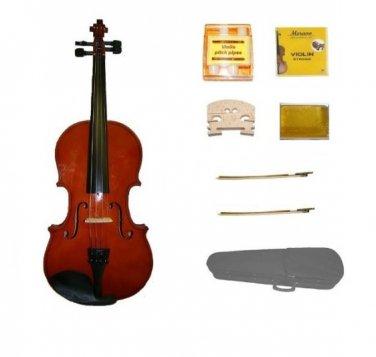Merano 1/2 Size Natural Violin,Case,2 Bows+Rosin+2 Sets of Strings+2 Bridges+Tuner