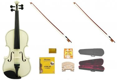 Merano 4/4 Size White Violin,Case,2 Bows+Rosin+2 Sets of Strings+2 Bridges+Tuner