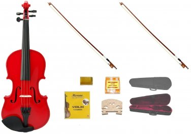 Merano 1/2 Size Red Violin,Case,2 Bows+Rosin+2 Sets of Strings+2 Bridges+Tuner
