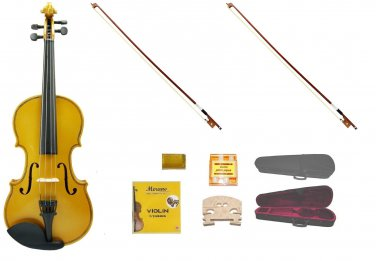 Merano 1/2 Size Gold Violin,Case,2 Bows+Rosin+2 Sets of Strings+2 Bridges+Tuner